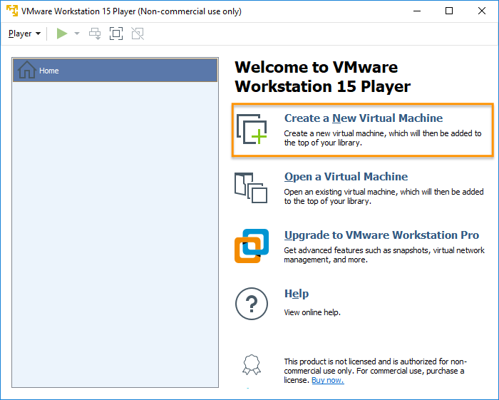 VMware Workstation Player - Create a new virtual machine