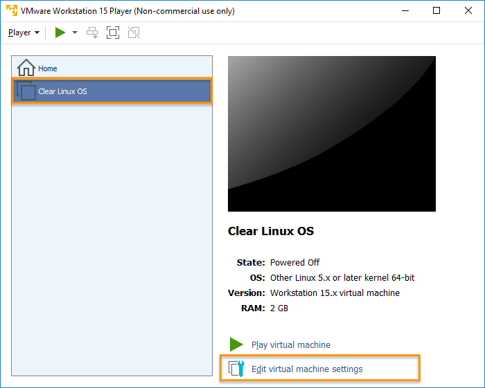 Clear Linux* OS on VMware* Workstation Player